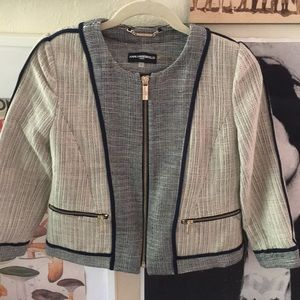EUC Karl Lagerfeld Paris Blue Tweed Jacket | 4